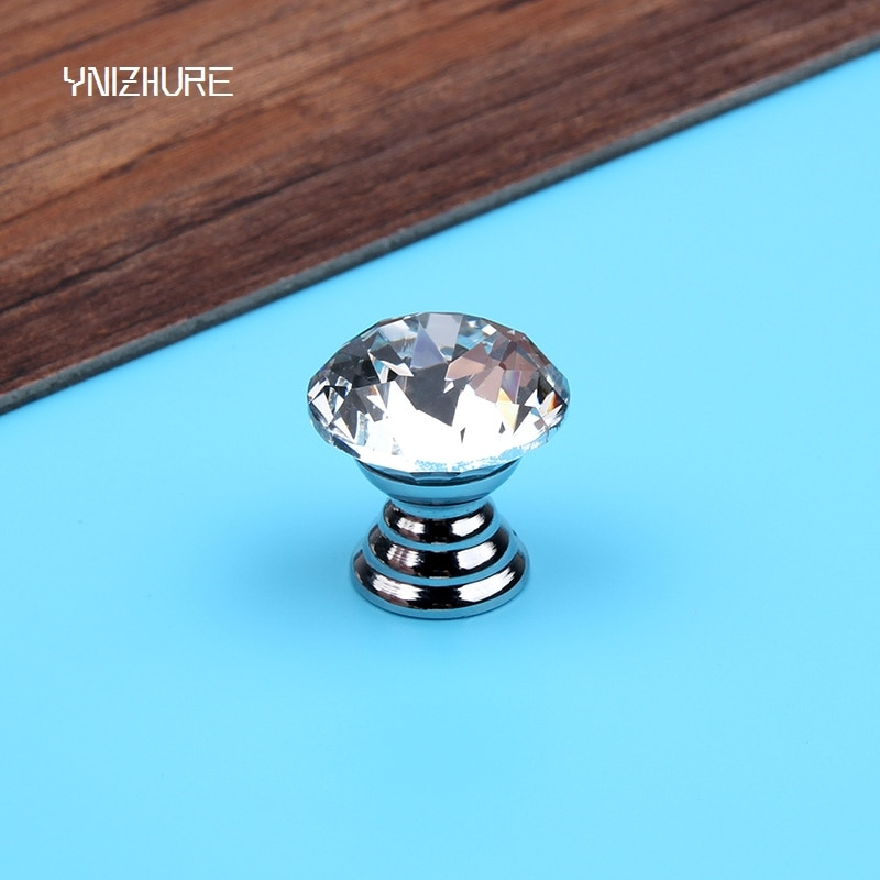 20mm 10 unids/bolsa Global accesorios de muebles calientes cajón armario manija de cristal plateado armario de cristal pomo de cómoda