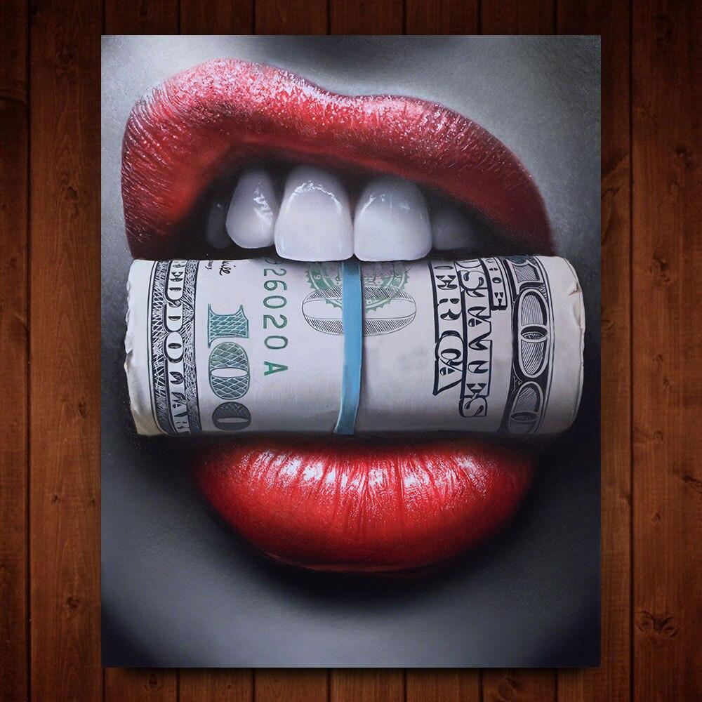 WANGART, labios rojos con dinero, cartel con cita impresa, arte de pared, pintura al óleo sobre lienzo, imagen para sala de estar, Bar, Idea, decoración creativa para el hogar