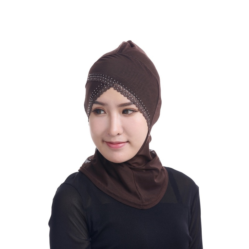 Nova womens face-lift muçulmano hijab ninja única cruz quente perfuração rendas underscarf cabeça capa islâmica chapéu chapéu cachecol w2