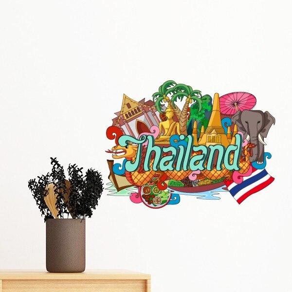 El Gran Palacio elefante Tailandia Graffiti etiqueta extraíble para pared arte calcomanías Mural DIY papel tapiz para habitación calcomanía