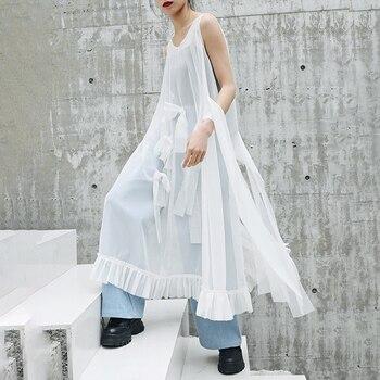 [EAM] 2020 New Spring Summer Round Neck Sleeveless Mesh Ruffles Bow Split Joint Temperament Dress Women Fashion Tide JW807