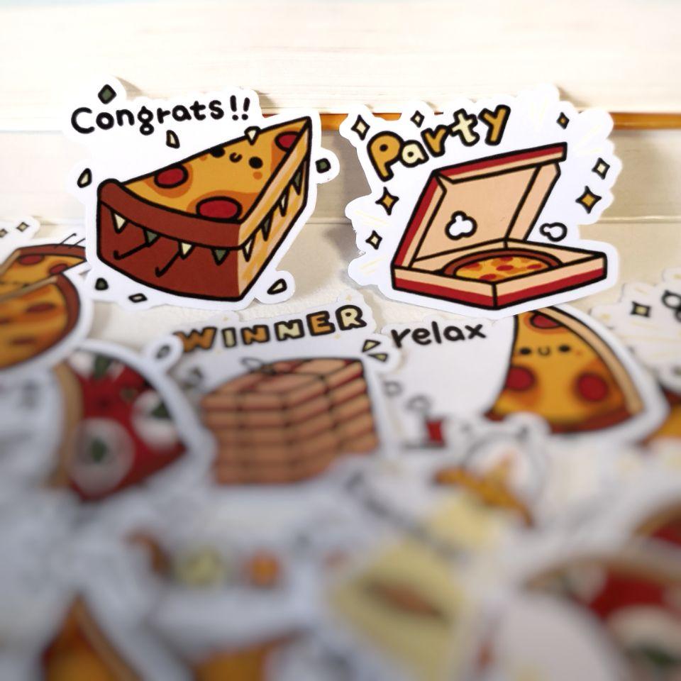 20/40 pçs engraçado bonito bonito pizza dos desenhos animados adesivo notebook skate bicicleta diy adesivo à prova ddiy água