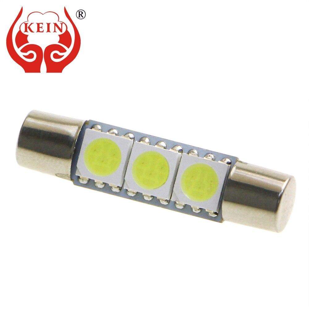 KEIN 10 шт. 28 мм t6 гирлянда led 5050 3SMD косметическое зеркало лампа Интерьер светильник для Чтения номерного знака сигнальная лампа 12 В Авто белый с...