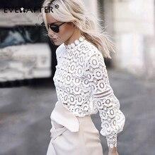 EVERAFTER élégant blanc dentelle blouse chemise femmes lanterne manches sexy évider broderie patchwork blouses haut dautomne femme