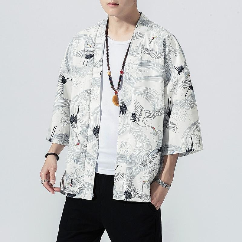 2021 Original Men Japan Style Kimono Cardigan Shirt Coat Traditional Loose Printing Fashion Casual Thin Jacket Summer Outerwear