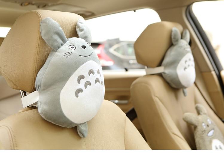 ¡Candice guo! Juguete de felpa súper bonito, almohada para el cuello con reposacabezas para silla de coche con Gato gris sonriente, regalo creativo para cumpleaños y Navidad, 1 unidad