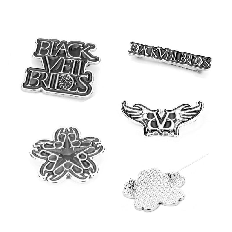Banda de música preto véu noivas broche masculino feminino jóias esmalte pino broches mochila chapéu pano crachá colarinho lapela pinos