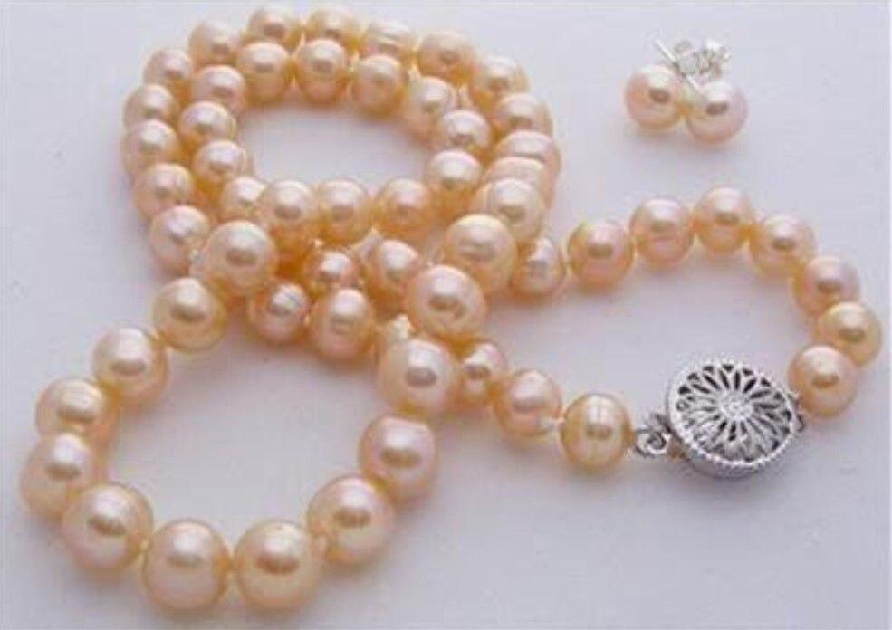 """8-9mm Rosa akoya cultivado collar de perlas pendiente 17,5 """"> conjunto de joyas de abalorios encanto del cuerpo"""