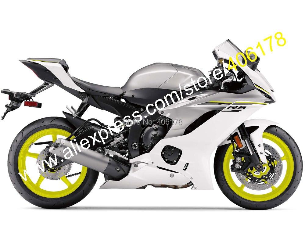Kit de carenado de motocicleta (moldeado por inyección) ABS para YZF600 R6 2017 2018 2019 2020 YZF-R6 17 18 19 20, gris y blanco