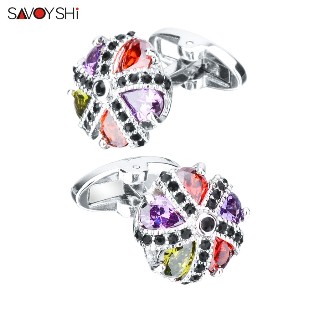 SAVOYSHI Luxury Zircon Cufflinks for Mens Shirt Cuff nails High Quality Colorful Crystals Cuff links Wedding Grooms Gift Jewelry