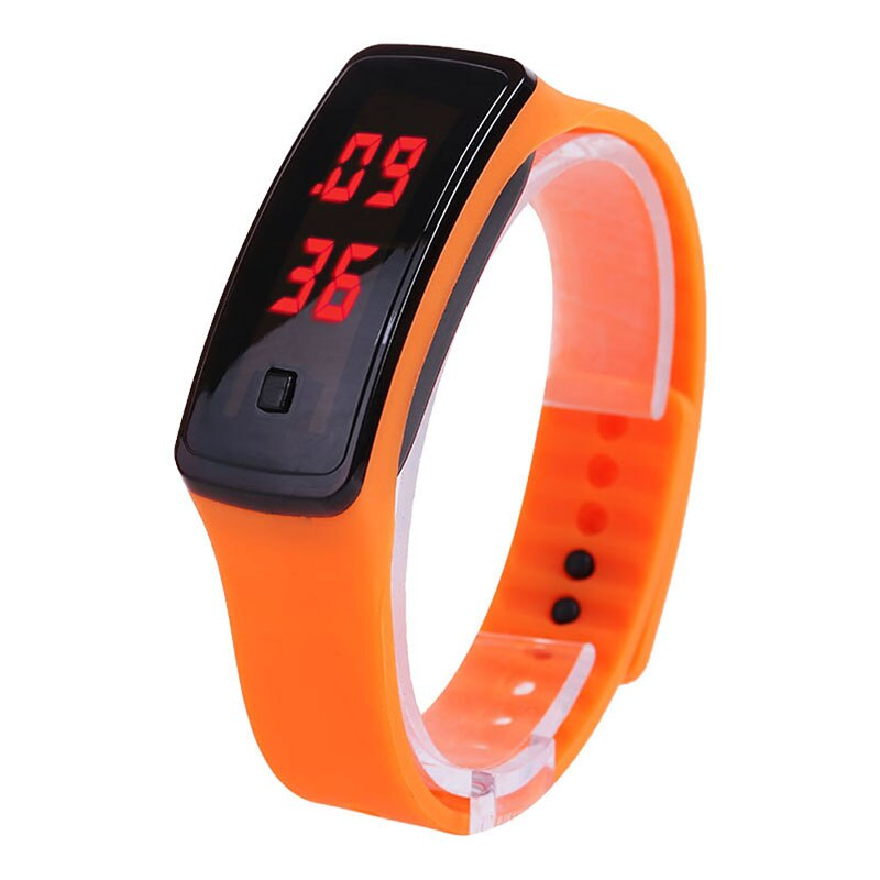 Reloj LED deportivo a la moda para mujer, reloj de pulsera con correa de silicona de Color caramelo para chicas, relojes digitales con luz trasera roja para mujer con pantalla táctil