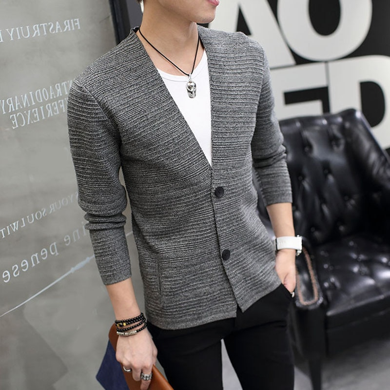 Men sweater outerwear thin 2020 new autumn slim solid color V-neck male cardigan handsome long-sleeve sweater fashion