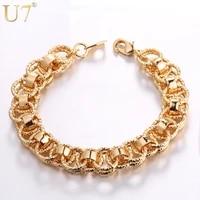 u7 hand chain bracelet trendy goldsilverblack color 21cm unique round bracelets bangles womenmen jewelry hot sale h489