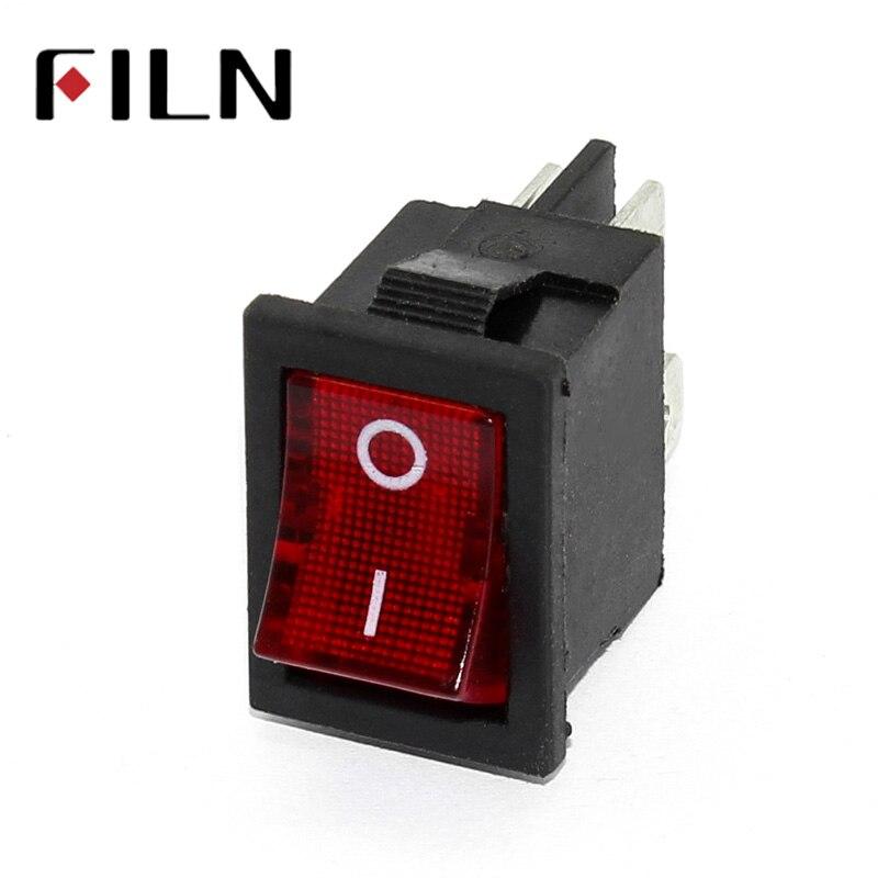 FILN KCD1 interruptor de balance 10A 250V 4 pies, mini interruptores de encendido-apagado con luz led