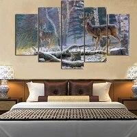 Affiches danimaux de cerf  peinture sur toile  decoration de salon americain  imprimes delans  5 pieces  peintures murales modernes pour la maison