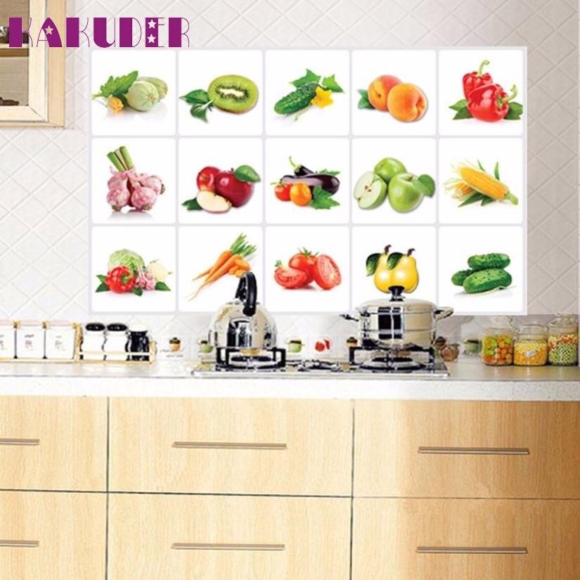1 PC Cozinha Oilproof Toalha de água da folha de Alumínio adesivo Removível Padrão Fruit Adesivos de Parede Home Decor Decal 75 cm x 45 cm feb27