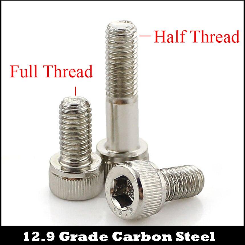 M4 M4 * 60 M4x60 M4 * 80 M4x80 12,9 Grado de acero al carbono niquelado DIN912 medio hilo tapa tornillo de cabeza Allen tornillo hexagonal
