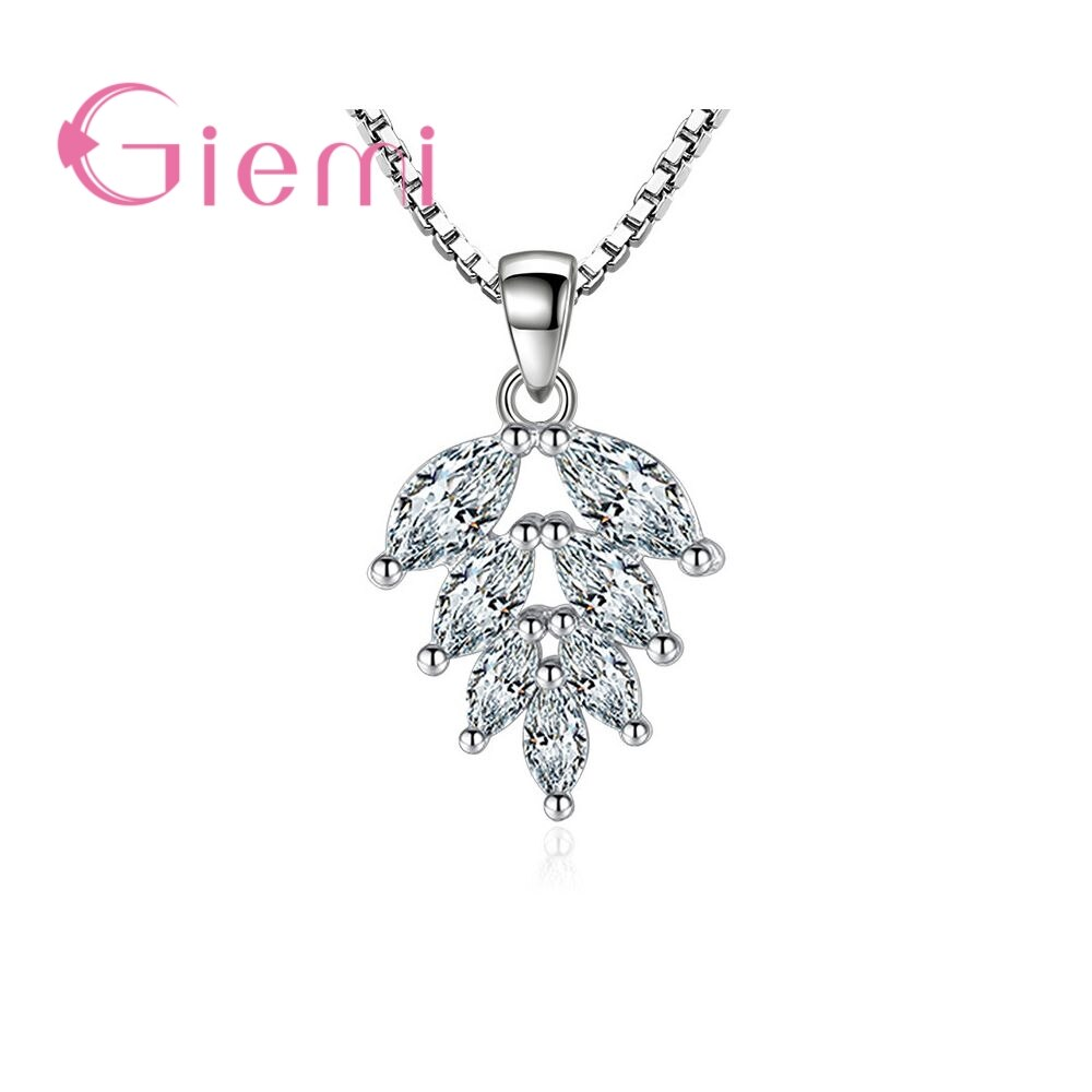 Leaf Shape Crystal Stone Necklace for Women's Birthday Gift Anniversary Jewelry 925 Sterling Silver Cubic Zirconia bff infinity necklace 925 sterling silver aaa cubic zirconia cyrstal necklace always best friend sister forever gift p6093b