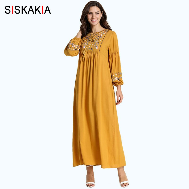 Siskakia Floral Embroidery Women Long Dress Elegant O Neck Bishop Sleeve Maxi Dresses with Tassel Drawstring Yellow Autumn 2019