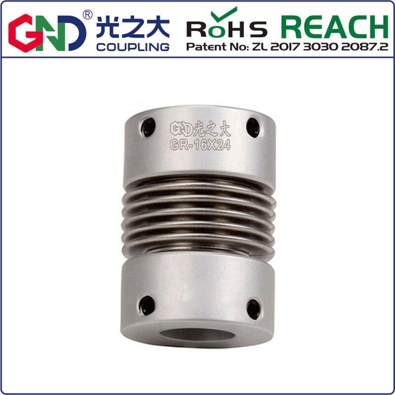 Acoplamiento de eje de serie superior de fuelle de aleación de aluminio GR D16 L27; d1 d2 tiene 4/5/6/6. 35/7/8mm