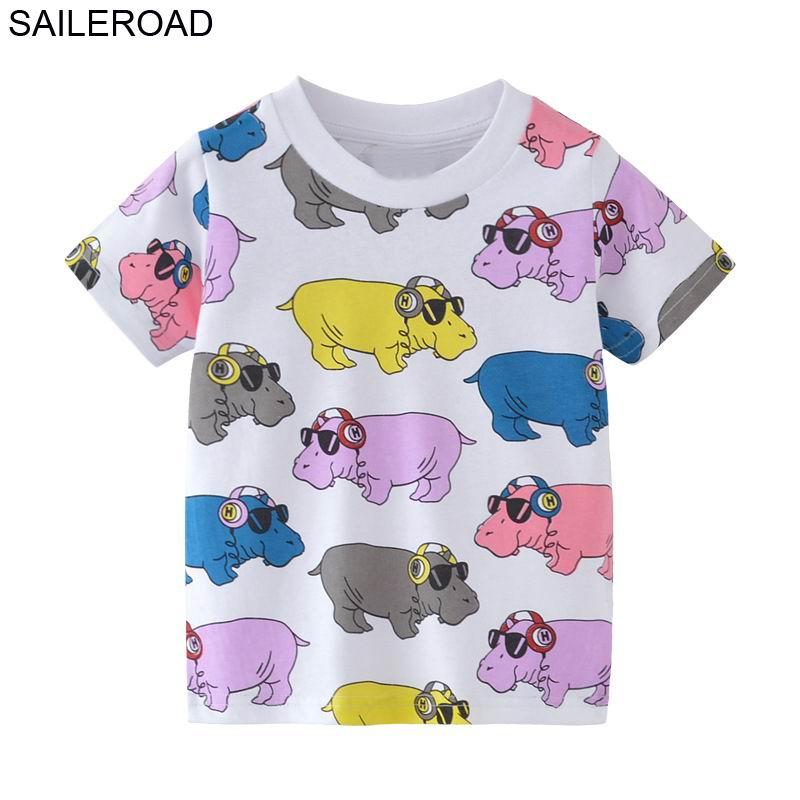 SAILEROAD 2-7Year Animal Rhinoceros Baby Boys Girls Tops Tees Camiseta para el verano Niños Niños Ropa para niñas Ropa de algodón