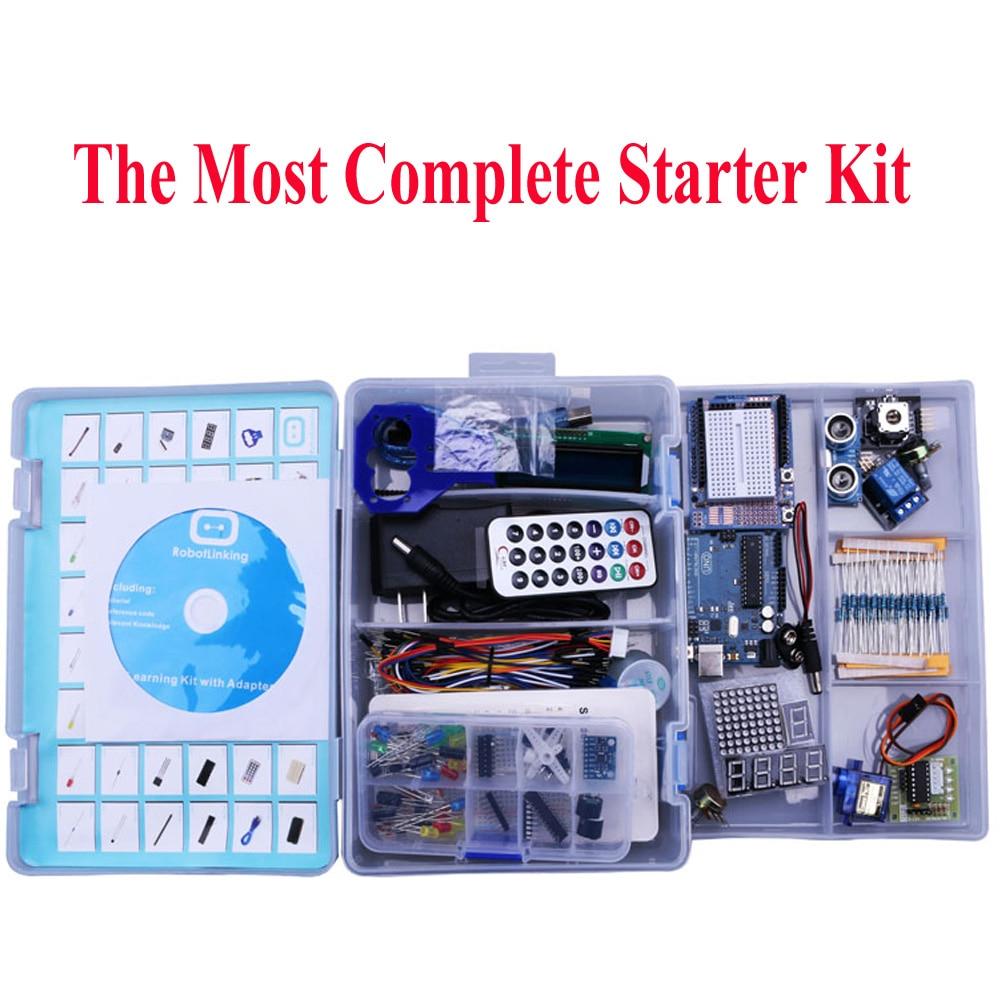 Elego UNO פרויקט ביותר מלא ערכת המתחילים Arduino UNO R3 Mega2560 ננו עם הדרכה/ספק כוח/מנוע צעד