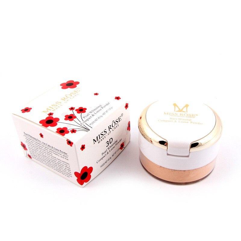 HOT Miss Rose Maquillaje facial 3 en 1 mineral desnudo compacto y suelto polvo pallet control de aceite sun block corrector polvo ajuste