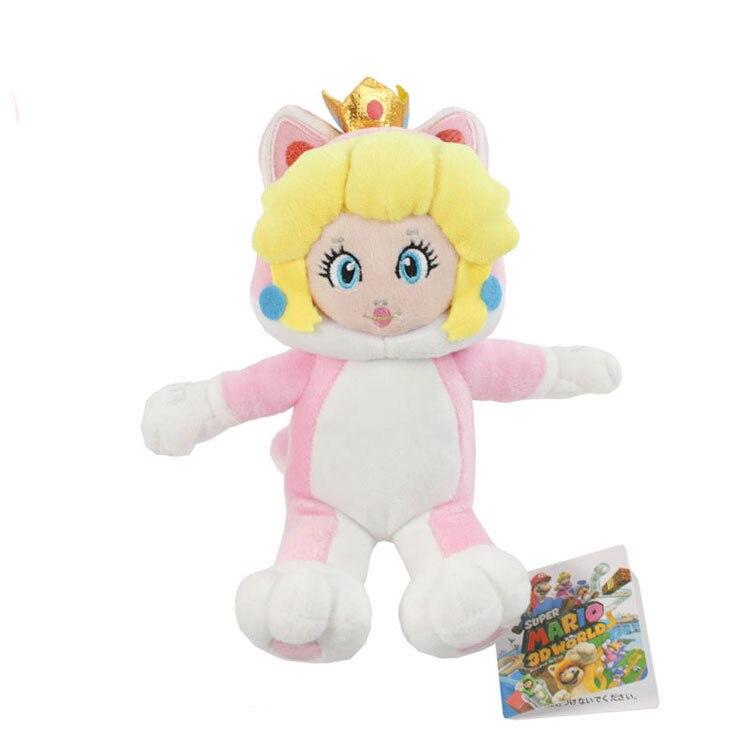 18cm Super Mario Bros 3D mundo gato Neko princesa melocotón juguete de peluche suave