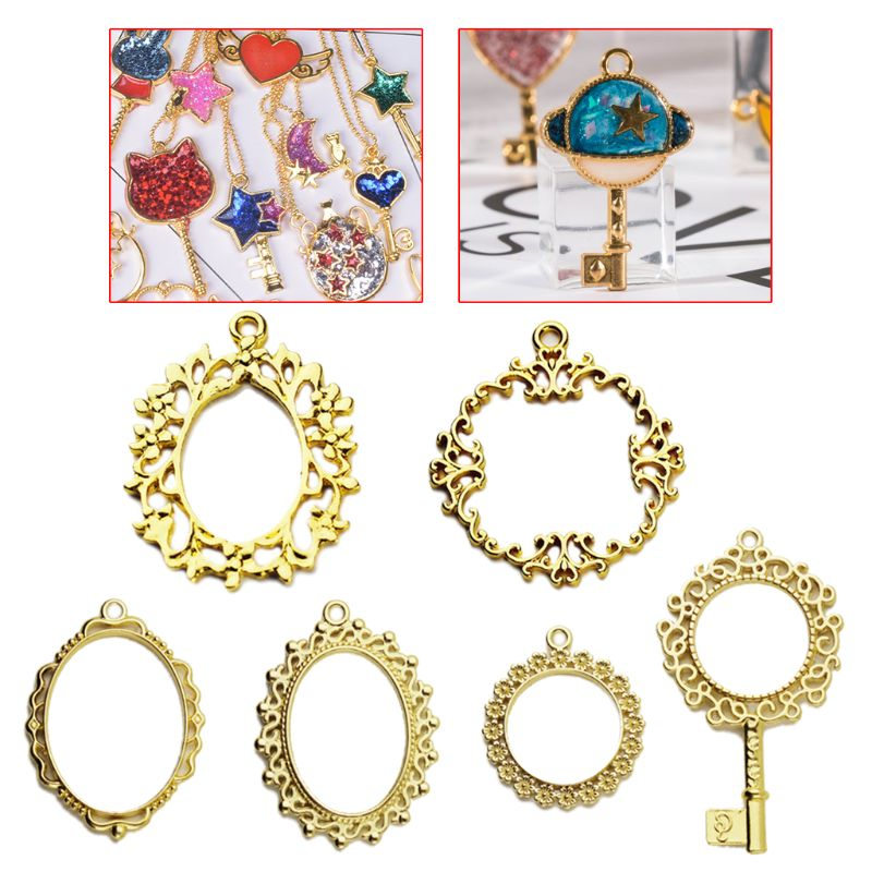 6Pcs Metal Frame Pendant Pocket Watch Key Open Bezel Setting Cabochon UV Resin Charm Jewelry Making Casting Craft DIY