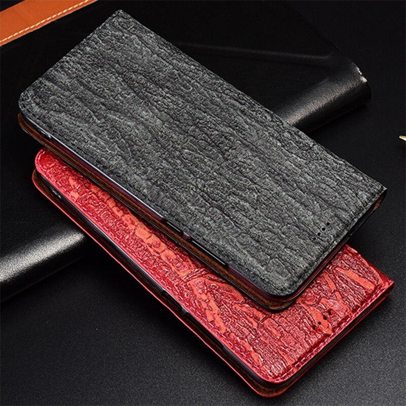 Textura de árbol de cuero genuino de teléfono magnético para Letv Max 2 Max2 X820 X900 caso de la cubierta