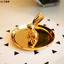 Gold Rabbit Ceramics Office Table Storage Plate Chic Elegant Luxury Fruit Jewery Office Desk Storage Organizer Decor Creative