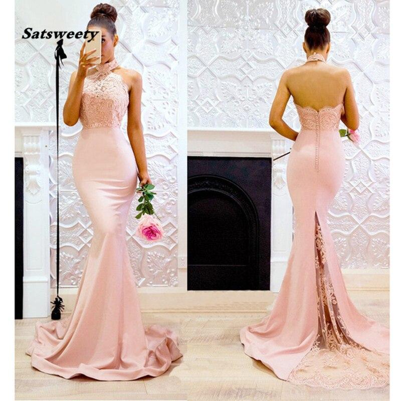 فستان سهرة وردي مخصص ، ظهر عاري ، مذهل ، أكتاف عارية ، مع زينة
