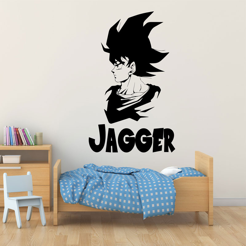 Dragon Ball Z japanese anime Goku avatar wall decal customizable name bedroom Anime fans decorative vinyl wall stickers LZ02