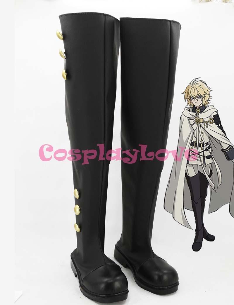 De Anime japonés Owari no Seraph de la final Ferid Bathory Hyakuya Mikaera Mikaela Cosplay botas zapatos para Halloween