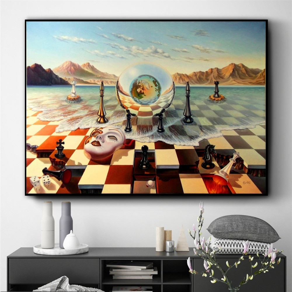 AliExpress - Surreal City Chess Beach Set Wall Art Canvas Painting Poster Prints Pictures For Living Room Decoration Home Oil Paintings Decor