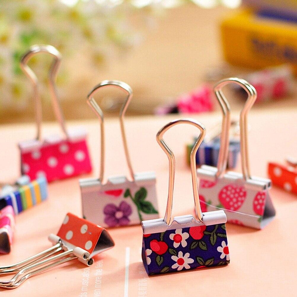Clips de carpeta metálicos impresos con flores, clips de papel para notas, suministros de oficina, estilo aleatorio, 6 unids/lote, estilos frescos