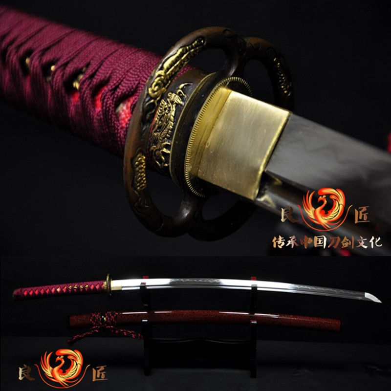 El dövme T10 kil temperli japon samuray kılıcı katana sharp ened tam tang sharp bıçak