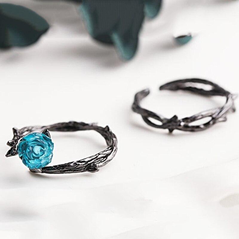 Anillos de pareja creativos Retro negro rosa de color flores espinas diseño dedo anillo azul cristal abierto Vintage anillos