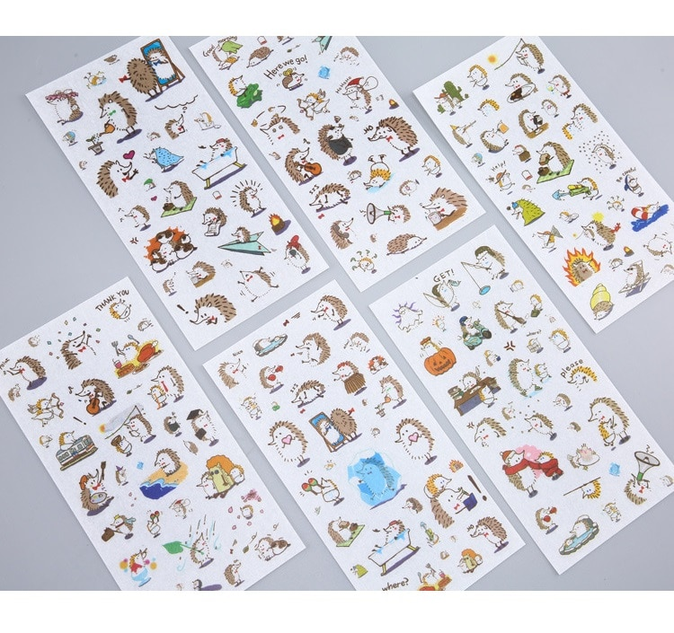 6 hojas/Set Kawaii lindo erizo decorativo móvil pegatinas Scrapbooking DIY pegatinas artesanales papelería