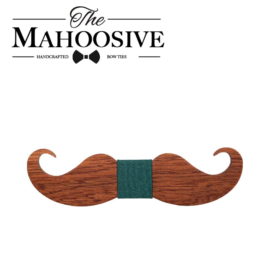 Mahoosive bigote viejo moda escolar madera pajarita mariposa gravatas para homens corbatas goom kravat pajaritas para los hombres
