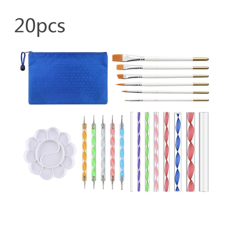20 unids/set Mandala pluma que puntea herramientas para pintura arte de pluma puntillo herramientas Mandala de la plantilla bola lápiz pintura bandeja