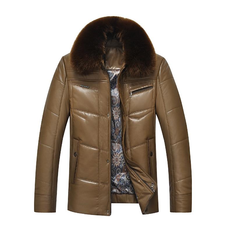 Abrigos de algodón de invierno 2018 con cuello de piel sintética de manga larga engrosamiento abrigo de abrigo grueso para hombre