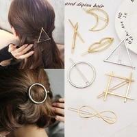 fashion woman hair accessories hair clip pin metal geometric alloy hairband moon circle hairgrip barrette girls holder