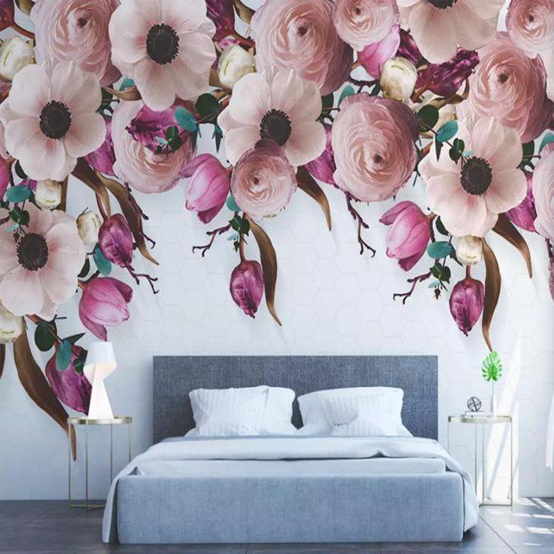 YOUMAN Personalizado papel de parede de pano de seda Americano mão-pintado rose flor rattan moderno papel de parede do fundo da parede 3d papel de parede