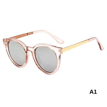 New Fashion Trend Transparent Round Frame Semi-metal Hot Sale Temple Multi-color Optional Retro Dureable Sunglasses