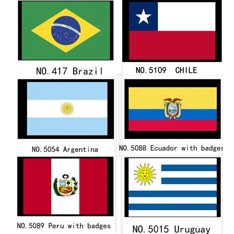 América del Sur, Brasil, CHILE, Uruguay, Columbia, Argentina, Ecuador, Perú, Bandera Nacional del mundo, 21*14cm