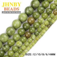 JHNBY perles de pierre vert du sud pierre naturelle de haute qualité minerai rond perles en vrac boule 4/6/8/10/12MM bijoux bracelet faisant bricolage
