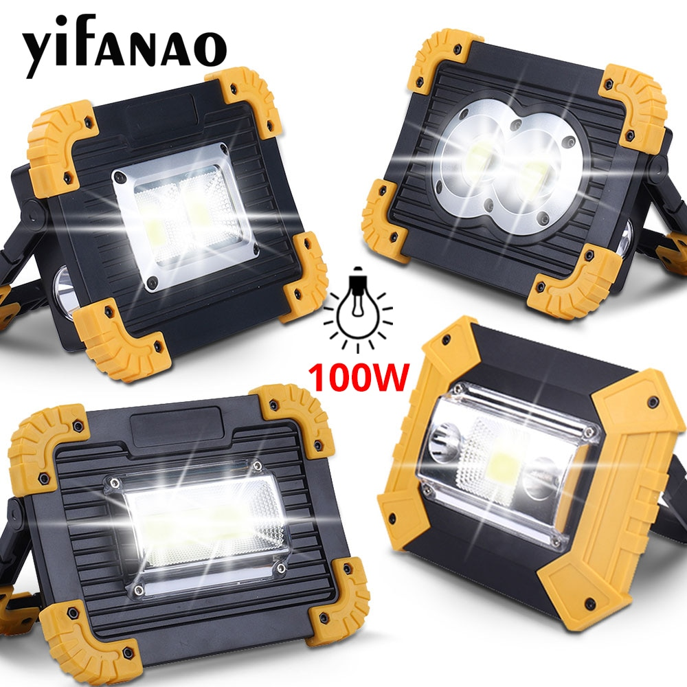 100W Led Portable Spotlight 3000lm Super Bright Led Work Light Rechargeable for Outdoor Camping Lamp