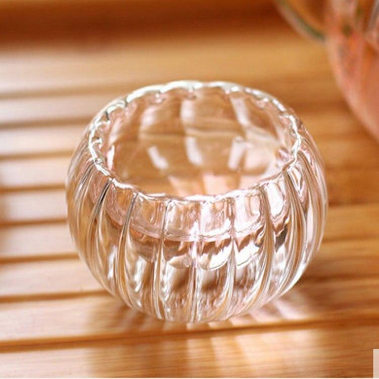4pcs Abóbora Duplo-camada copo De Vidro copo, 35ml xícara de chá de Calor-isolamento, -Resistente Ao calor Dinkware, Para Home office Bar restaurante Casa de Chá