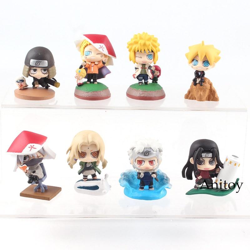 Figura de acción de Naruto de la próxima generación, juguete de Shodai Senju Hiruzen Minato Tsunade Kakashi Naruto Boruto, llavero de 4-6cm